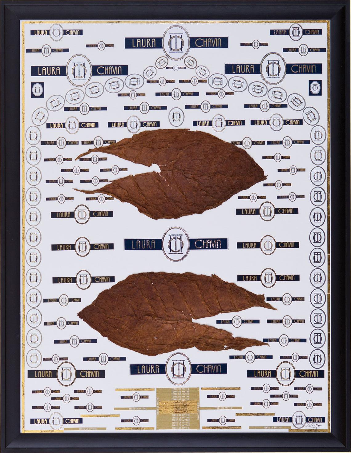 """""""Laura Chavin"""" mit zwei Tabakblättern"""