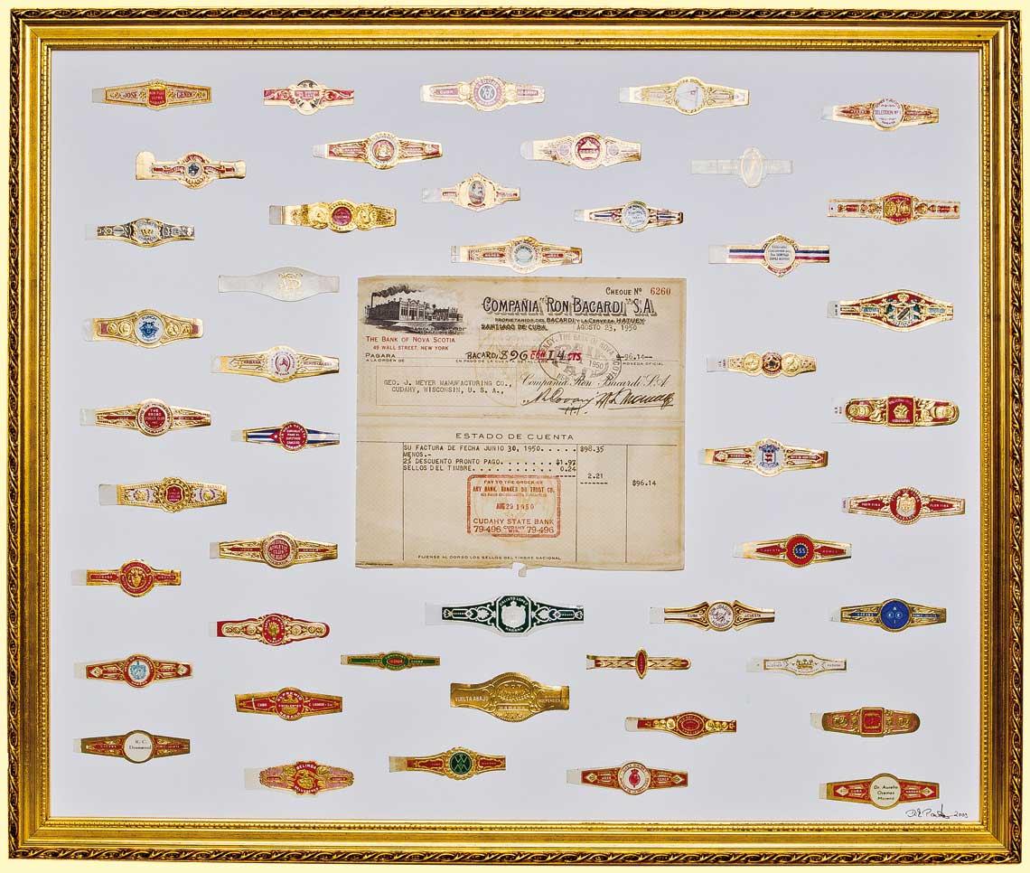 Zigarrenringe, antike Bacardi-Rechung